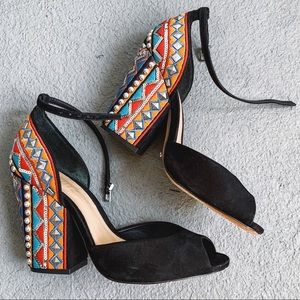 Schultz sandals with embroidery and studs